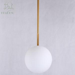 Suporte de ferro de bronze de vidro leitoso travando rodada lustre a Lâmpada Pendente da esfera de decoração de interiores