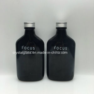 Custom 200ml frasco de vidro plano preto para o whisky café frio