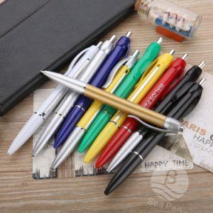 Promoción Banner barato bolígrafo bandera con papel de rodadura de logotipo personalizado