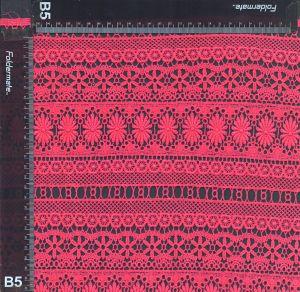 赤い有機性綿の化学レースファブリック