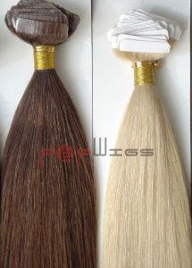 La mano de gama alta de la piel el pelo atado en cinta de extensión (PPG-L-0141)