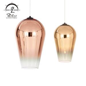 Populäre einfache energiesparende Glasform beleuchtet kupferne hängende Lampe