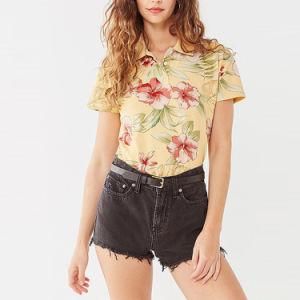 여자 꽃 인쇄된 테니스 폴로 셔츠