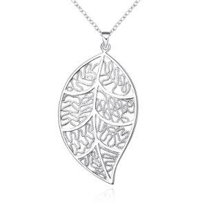 Juwelen van de Manier van de Toebehoren van de Manier van de Juwelen van de Halsband van de Tegenhanger van de Juwelen van de Tegenhanger van het Blad van de Vrouwen van de manier de Holle Blad Geparelde voor Gift