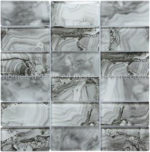 Olhando em mármore de jacto de tinta de cor cinza Faixa de Impressão Digital de mosaico de vidro azulejos de parede