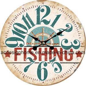 Orologio di parete rotondo di vendita caldo del MDF dell'oggetto d'antiquariato creativo con il disegno dell'ancoraggio dell'oceano di pesca per la decorazione interna