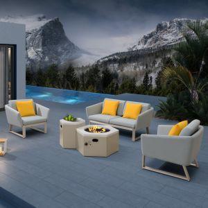 Muebles de jardín de aluminio tejido Inicio Ocio sofá con mesa