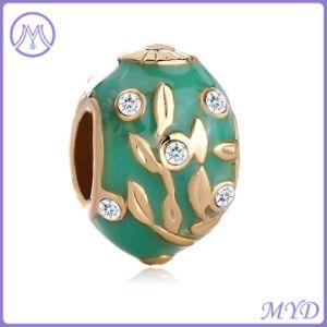 Het turkooise Ei van Faberge van het Kristal van de Boom van het Blad van het Email van de Kleur charmeert de Europese Armband van de Parel voor Vrouwen