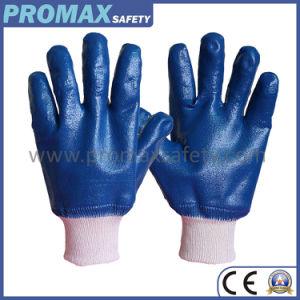 Anti Ácido de óleo pesado Blue Nitrile totalmente NBR luvas de trabalho de segurança revestidas