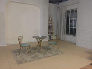 Tejido moderno salón de acero inoxidable Muebles de oro rosa