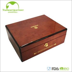 Rectángulo de empaquetado de la joyería de madera del estilo chino con la insignia impresa al por mayor