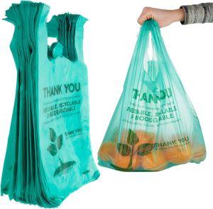 Vente en gros PLA biodégradable personnalisé haute capacité Pbat Strach maïs PE Sac pour t-shirt en PE-BD HDPE sacs à provisions en plastique compostables
