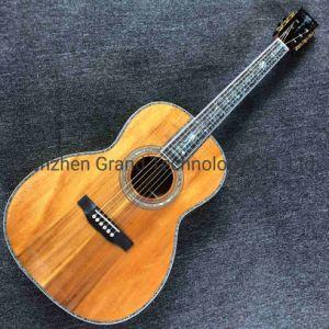 """Custom 39"""" de madera maciza Koa todas las incrustaciones de ébano de enlace de Abalone Diapasón Guitarra acústica"""