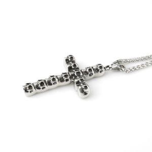Jóias de aço inoxidável crânio pendente da cruz de Jesus para homens