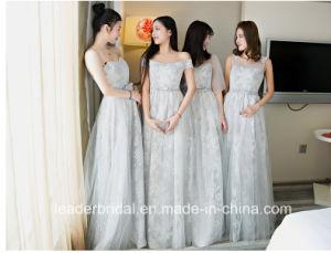 De zilveren Avondjurk T2017 van het Bruidsmeisje van Tulle van het Kant van de Toga's van Prom van de Partij