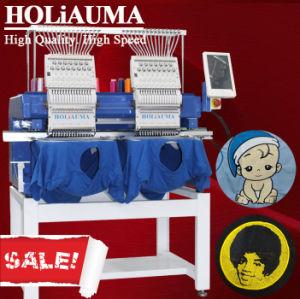 Bom Holiauma 2 cabeças de negócios TV /Hat/ 3D/ Leather/ computador máquina de bordado com 400*500mm Area duas cabeças 15 cores