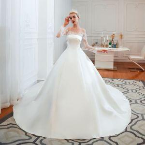 Sexy&элегантный off плечо длинной втулки Собора Train A-Line пятно свадебные платья устраивающих платье устраивающих платья