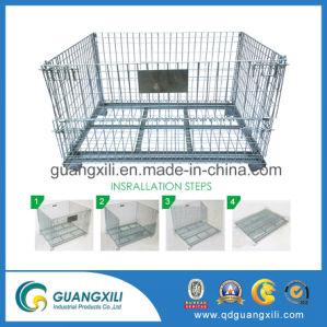 Malla de alambre plegable de metal de la jaula de almacenamiento de palets