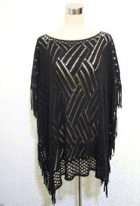 女性100%アクリルの編まれた方法空によって縁を付けられるショールのポンチョ(YKY4512)