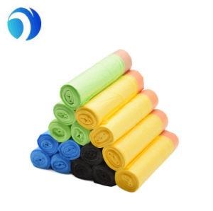 カスタム印刷の黒白いカラーCompostable屑のHDPE LDPEのトウモロコシ澱粉のプラスチック医学の世帯の高い台所生物分解性のドローストリングのごみ袋