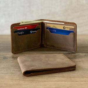 Bolsa em pele genuína personalizado Crazy Horse Wallet para homem