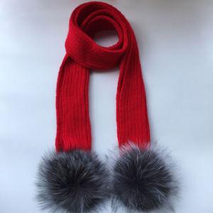 実質のアライグマの毛皮のポンポンが付いている中国の毛皮のSnoodのスカーフ