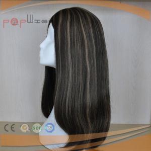 絹の上の真黒は強調するブラウンの毛のかつら(PPG-l-01635)を