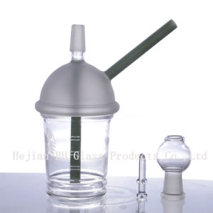 Tubo de vidrio pequeños tubos de agua fumar narguile de mano con el recipiente