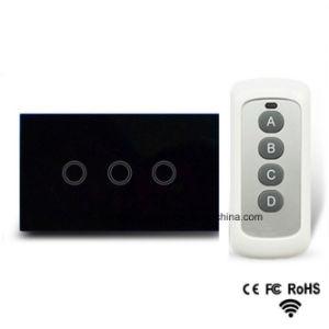 Nós Pista 1 padrão de 3 vias do interruptor da luz de controle remoto, RF433 Interruptor da Luz de toque remoto, Luz de parede do interruptor da tela de toque