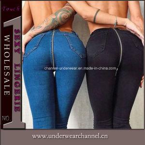 ジッパーの前部および背部方法女性のズボンの綿のデニムのジーンズ