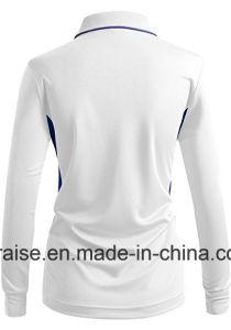 2색조 여자의 스포츠 착용 긴 소매는 폴로 셔츠를 지퍼로 잠근다 위로