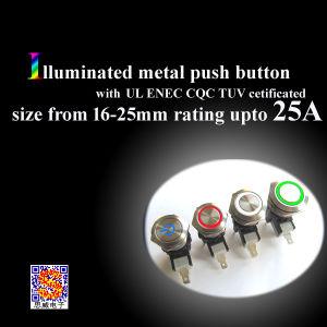 25A IP67は250速いコネクターの照らされた金属の押しボタンスイッチをまたはワイヤーで縛られて防水する(MW28)