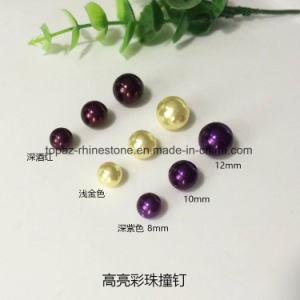 Orificio de bricolaje con clavo de perlas Perlas de plástico ABS color imitar a botón de perla (8mm Pearl botón).