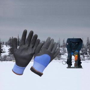 De koude Bestand Dubbele Ondergedompelde Zandige Handschoenen van het Werk van de Winter van het Nitril