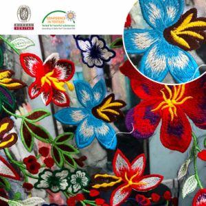 Multi Color Bordado Malha Lace Fabric Chemical Lace