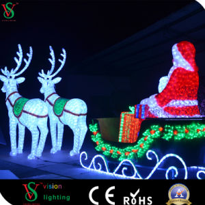 Jardín al aire libre dirigido a Santa Claus con caballos Reindee Navidad