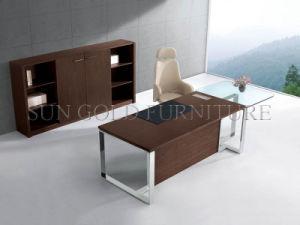 Bureau de bureau moderne avec pied en acier et dessus en verre sz