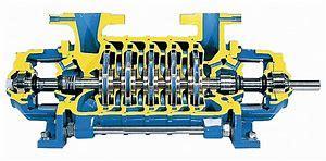 수평한 다단식 펌프, 광선 부분적인 단면도 다단식 원심 펌프