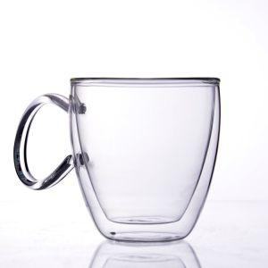 Doppel-wandiges Glaswasser-Tee-Cup mit Griff für Verkauf