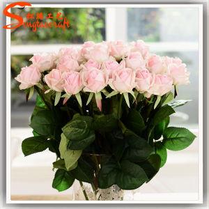 Toque Real Artificial decorativos casamento Rose Flower