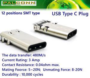 USB Typ-c Typ des Stecker-12 der Positions-SMT, Kontakt Resistance=40mohm, aktuelles Rating=3A, Durability=10000 Schleifen, Datenübertragung: 480m/S