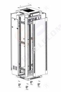 19'' для установки в стойку кабинет классического типа со стеклянной двери