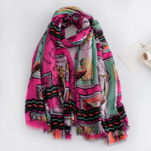 女性は作る印刷されたビスコースばねに絹のスカーフ(YKY1132)を