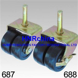 Double roue en caoutchouc noir Roulette pivotante à usage intensif