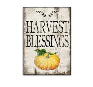 Las bendiciones de la cosecha del otoño decoración de madera caída signo los signos de calabaza