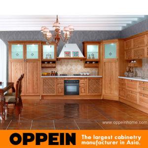 Gabinetes de cozinha antigos da madeira contínua do estilo do castelo de Oppein (OP11-X146)