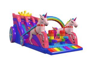 2018 Nouvelle conception de la princesse Unicorn Chsl gonflables chariot glisser1141
