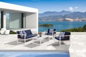 Alimentation d'usine Modren loisir populaire hôtel profilé en aluminium de jardin en plein air avec un canapé-Set de meubles en bois de teck de plein air de l'accoudoir