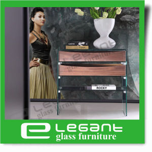 クルミの木製のベニヤの引出しが付いている曲げられたガラスサイドテーブル
