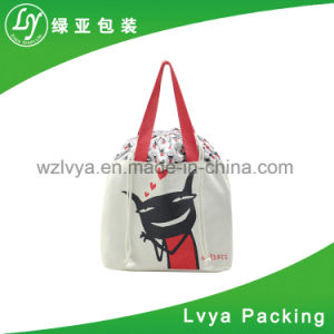 Hot vender promocionales de alta calidad de algodón Canvas Drawstring manejar Bolsa de compras